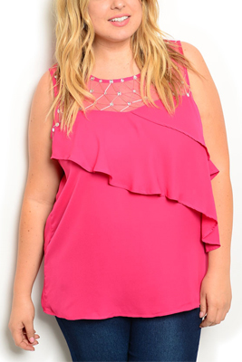 Plus Size Embellished Mesh Tiered Top