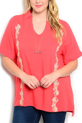 Plus Size Embroidered Short Sleeve Dressy Top