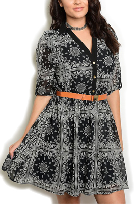 Black Ivory Plus Size Girly Trendy  Tribal Flowy Party Dress With Belt