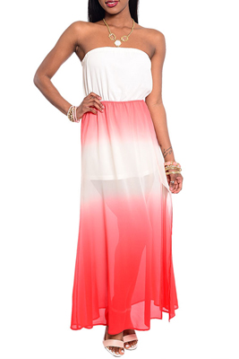 Trendy Strapless Tie Dye Chiffon Maxi Dress