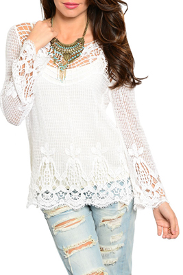 Boho Chic Sheer Floral Crocheted Long Sleeve Top