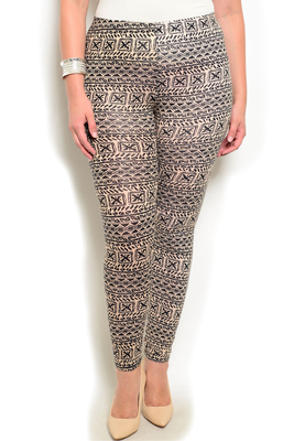 Plus Size Sheer Tribal Stretch Leggings