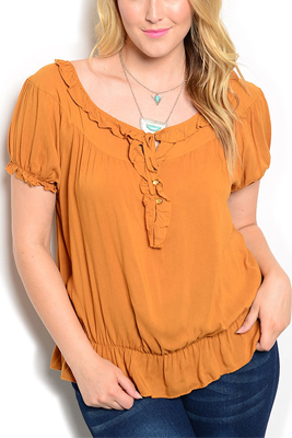Plus Size Ruffled Neckline Smocked Top