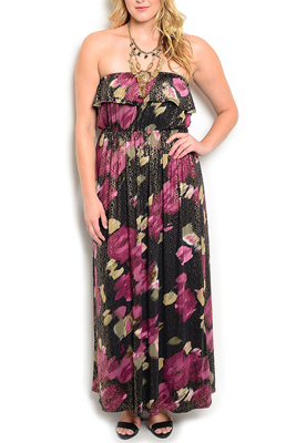 Plus Size Vintage Floral Ruffled Maxi Dress