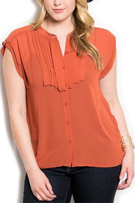 Plus Size Sheer Pleated Button Down Dressy Top