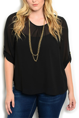 Plus Size Chain Open Back Dressy Top