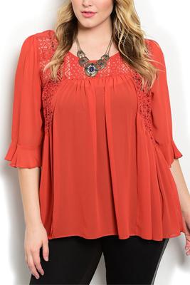 Plus Size Sheer Crocheted Flowy Dressy Top