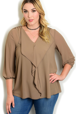 Plus Size Dressy Sheer Ruffled 3/4 Sleeve Top