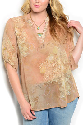 Plus Size Sheer Cuffed Sleeves V Neck Top