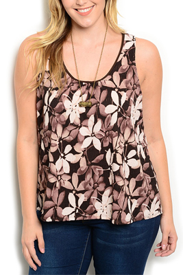 Plus Size Girly Sexy Sheer Floral Tank Top
