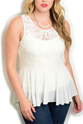 Plus Size Sheer Lace Flowy High-Low Top