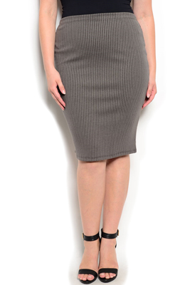 Plus Size High Waisted Knee Length Skirt