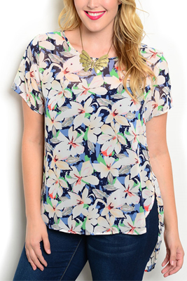 Plus Size Sheer Split Sides Floral Top