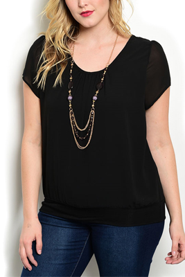 Plus Size Fitted Knit Casual Top Necklace