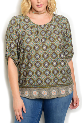 Plus Size Trendy Dressy Sheer Medallion Top