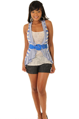 Sleeveless Racerback Waterfall Tank Top with Belt